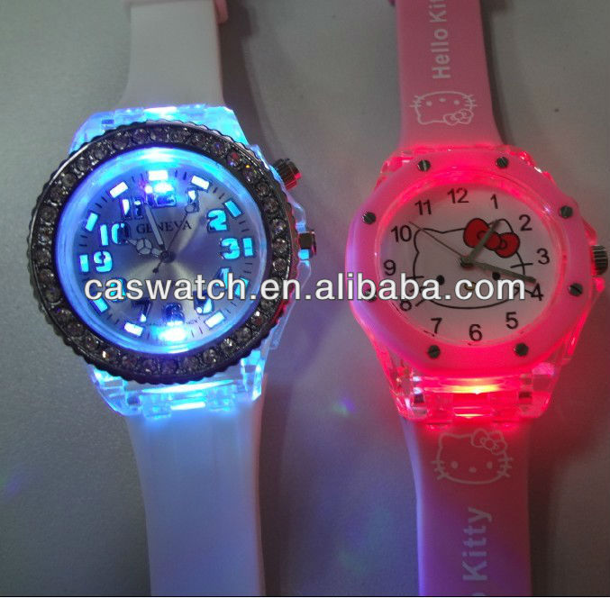 8f96e660fffc fashion colorful lights up face watch with stones kids digital light up  jelly watch silicone flashing light up watch
