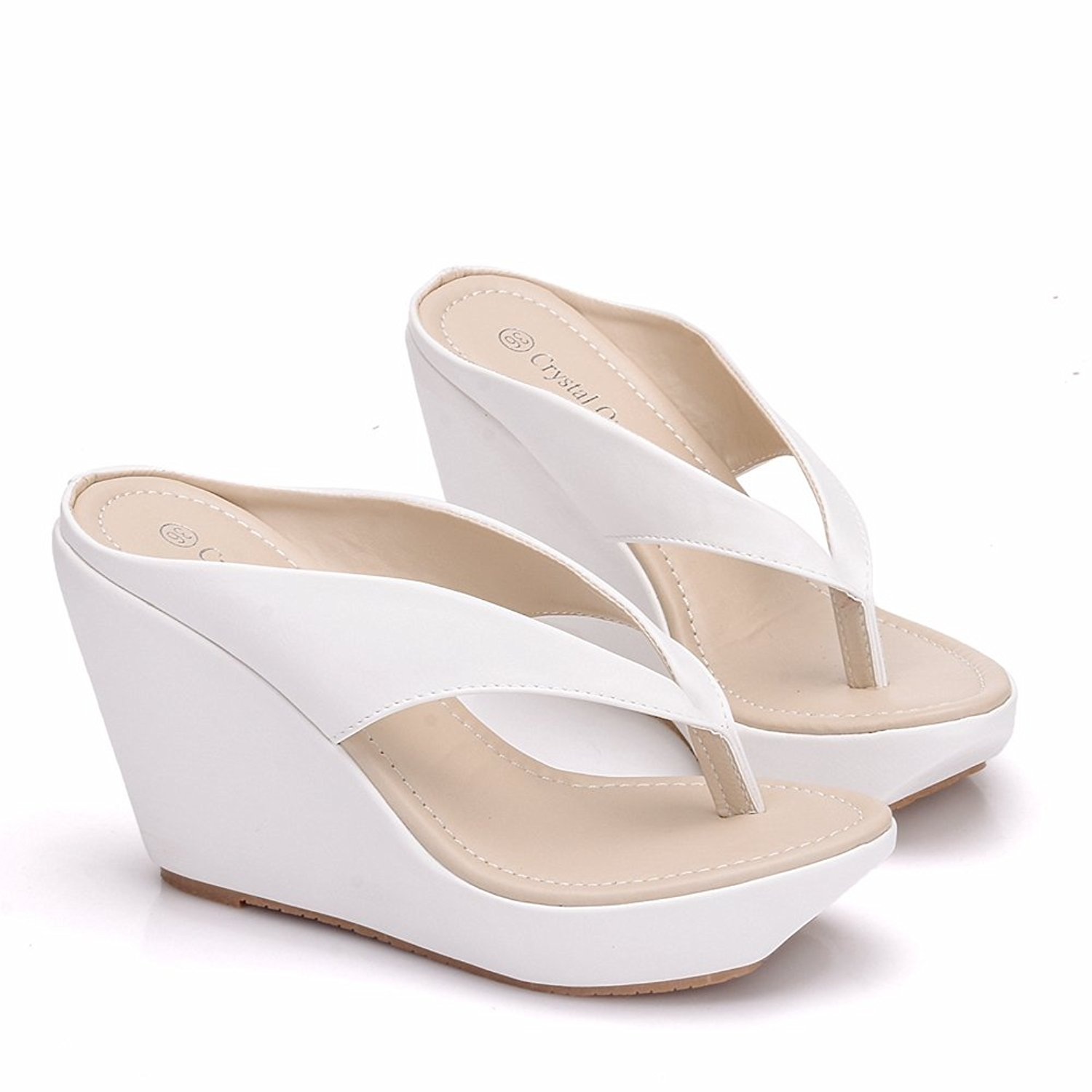 4fd69ab6b Get Quotations · Crystal Queen Women Beach Sandals Platform Wedges Sandals  High Heels Wedges Slippers Flip Flops White Flip