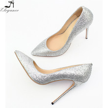 Latest Fashion Silver Flash Glitter Fabric Big Size Women Shoes Wholesale Thin High-Heeled Ladies Wedding Shoes