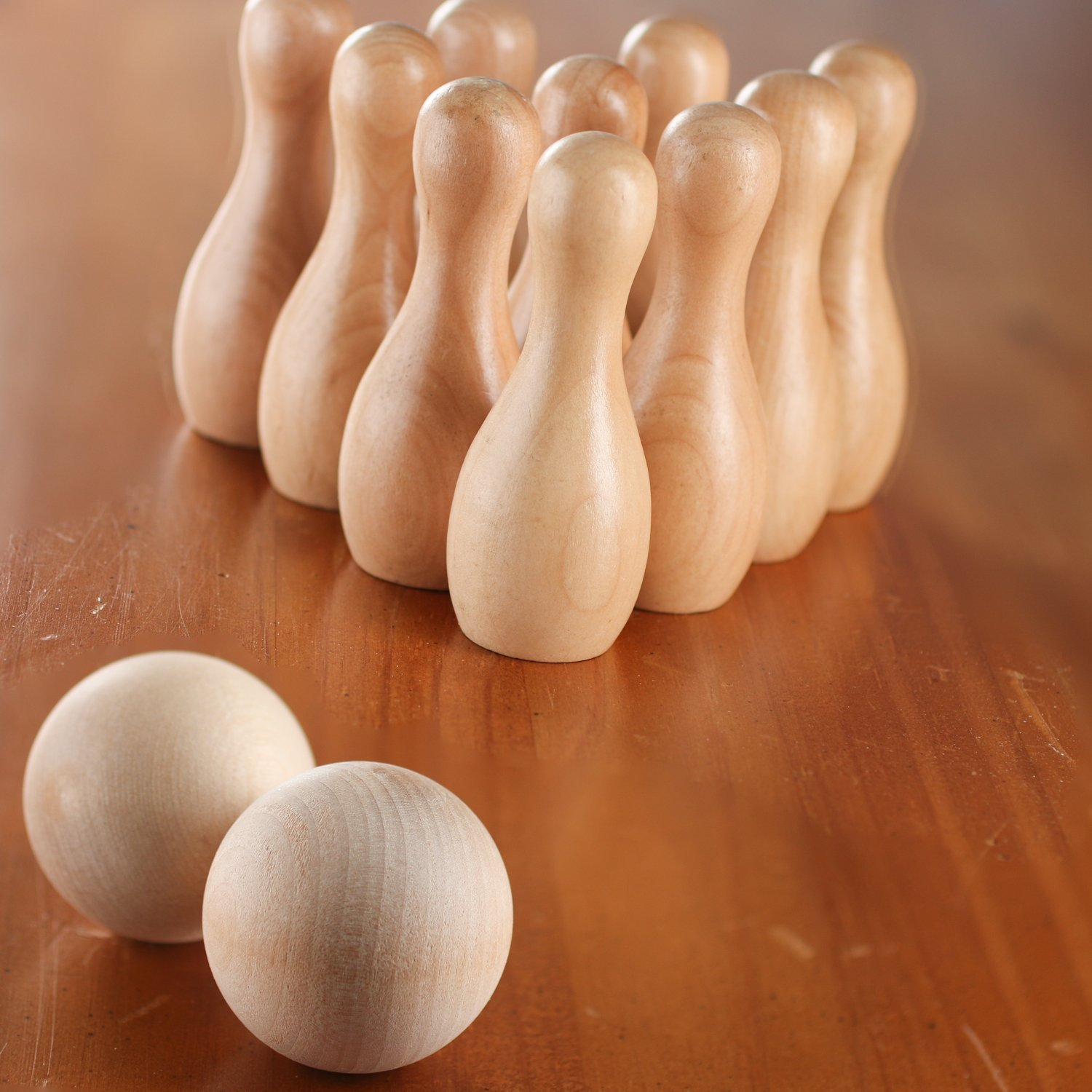 Factory Direct Craft Small Unfinished Wood Bowling Pin Game Set