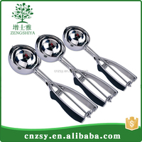 18/8Stainless Steel Spring Handle Masher Cookie Spoon Ice Silver Cream Scoop