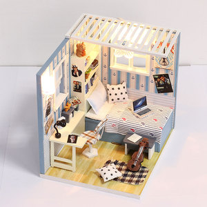 Handmade miniature house model kits wooden toy doll house with furniture