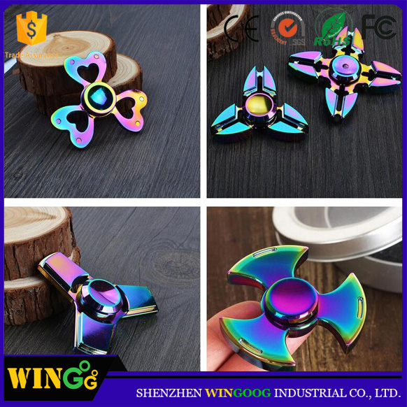 Stress reducer 360 rainbow metal finger hand new fidget spinner toys supplier