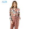 Women long sleeve stain floral tops,ladies casual blouse bodysuit
