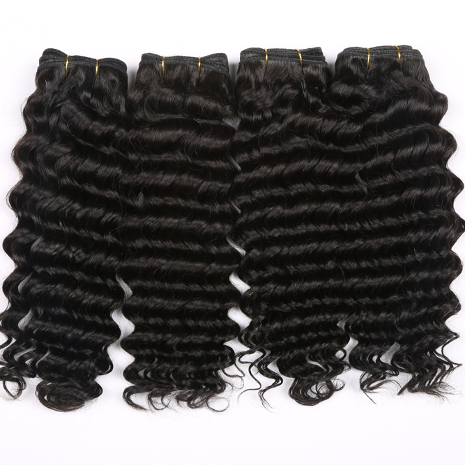 9A grade virgin brazilian human hair bundles with 13x6 lace frontal closure deep wave human hair extension