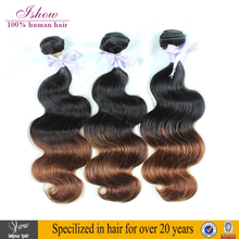 Excellent Quality Very Soft And Glossy Virgin Brazilian Body Wave Hair Two Tone Ombre Colored Human Hair Weave Bundles