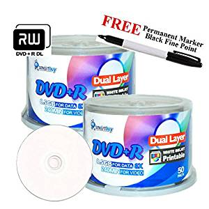 Smartbuy 100-disc 8.5GB/240min 8x DVD+R DL White Inkjet Hub Printable Blank Media Disc + Black Permanent Marker