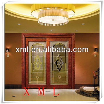 Best price chinese solid wooden sliding glass door