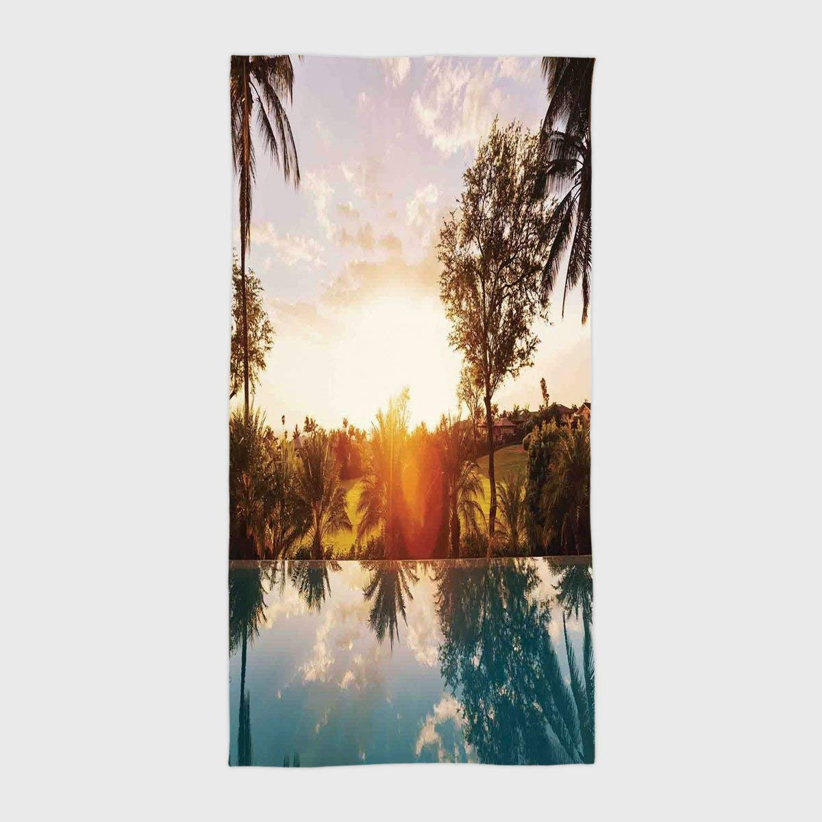 One Side Printing Hotel SPA Beach Pool Bath Hand Towel,Hawaiian Decorations Home with Swimming Pool at Sunset Tropics Palms Private Villa Resort Scenic View Orange Teal,for Kids Teens and Adults