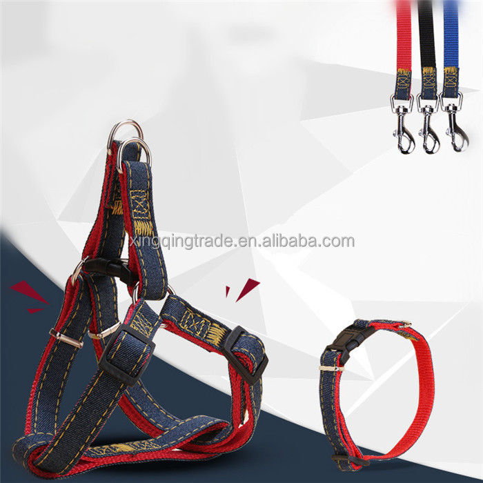 Long Fashion Denim & Nylon Rope Dog Leash Black/Red/Blue Jean Puppy Dog Collar+Harness+Leash Sets Pet Product