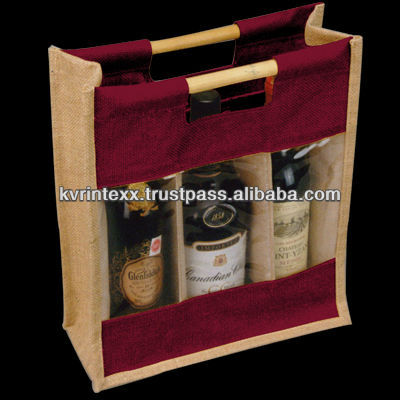 2014 foldable environment friendly jute wine bags