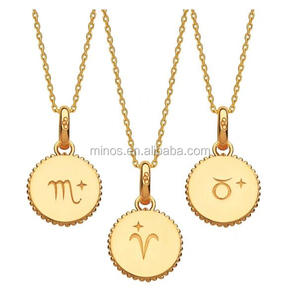 2018 New Arrive Stainless Steel Yellow Gold Vermeil Zodiac Charm Necklace