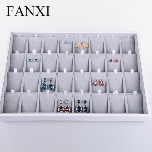 FANXI Custom European Style Ring Necklace Earring Bracelet Velvet Insert Holder Trays White PU Leather ring dishes, Grey available or custom