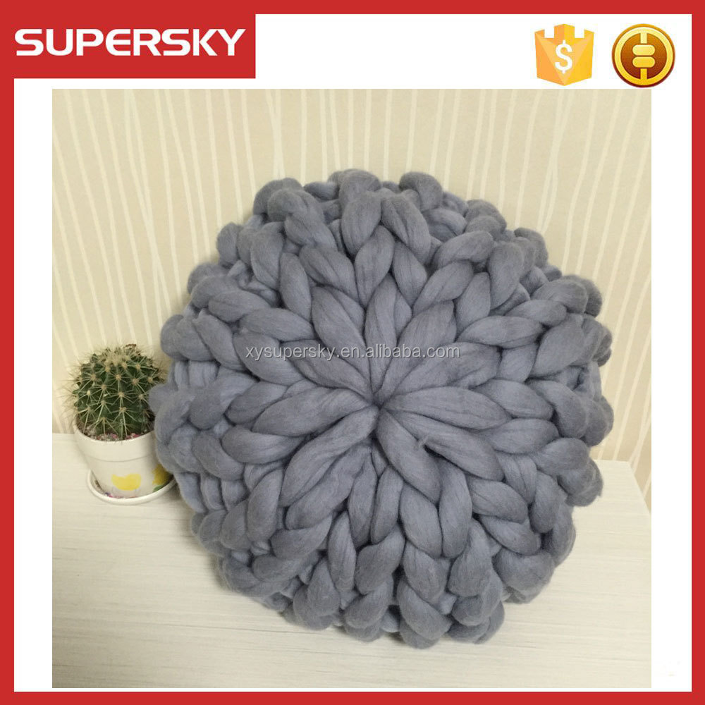 C112 Super chunky merino wool crochet decorative pillow