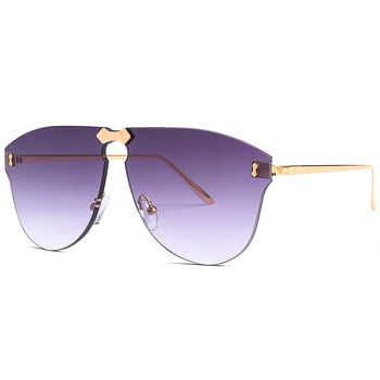 China Low MOQ New 2018 UV400 Luxury High Quality Rimless Round Trendy Italy Designer Oversized Big Size Metal Frame Sunglasses