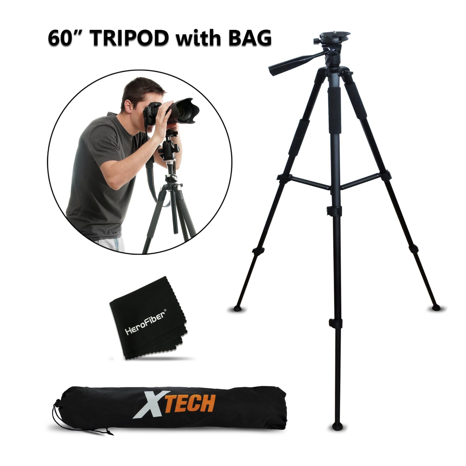 Professional Dual Handle Aluminum 67 Tripod for Nikon Coolpix P600 Bubble Level