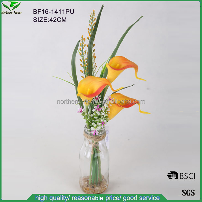 2016 newest design natural touch artificial PU calla lily flower in glass vase