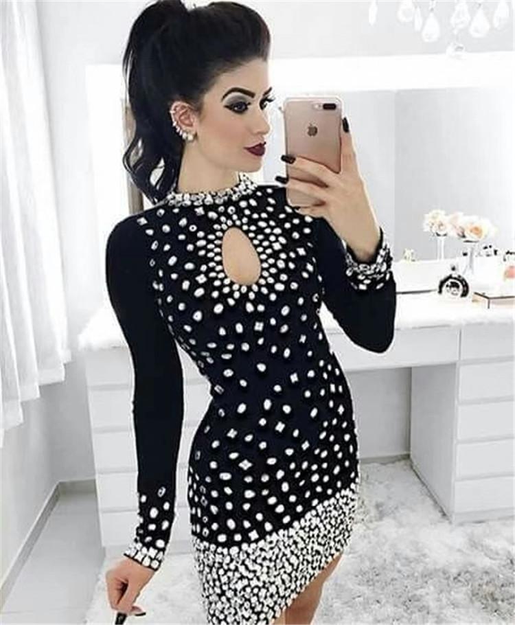 Alibaba.com / Top Quality Beading Long Sleeve Sexy Celebrity Evening Party Fashion Bodycon Bandage Dreses