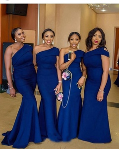 09a48e7a5f5f Royal Blue 2019 African Long Mermaid Bridesmaid Dresses One Shoulder Satin  Formal Wedding Guest Dress Vestidos