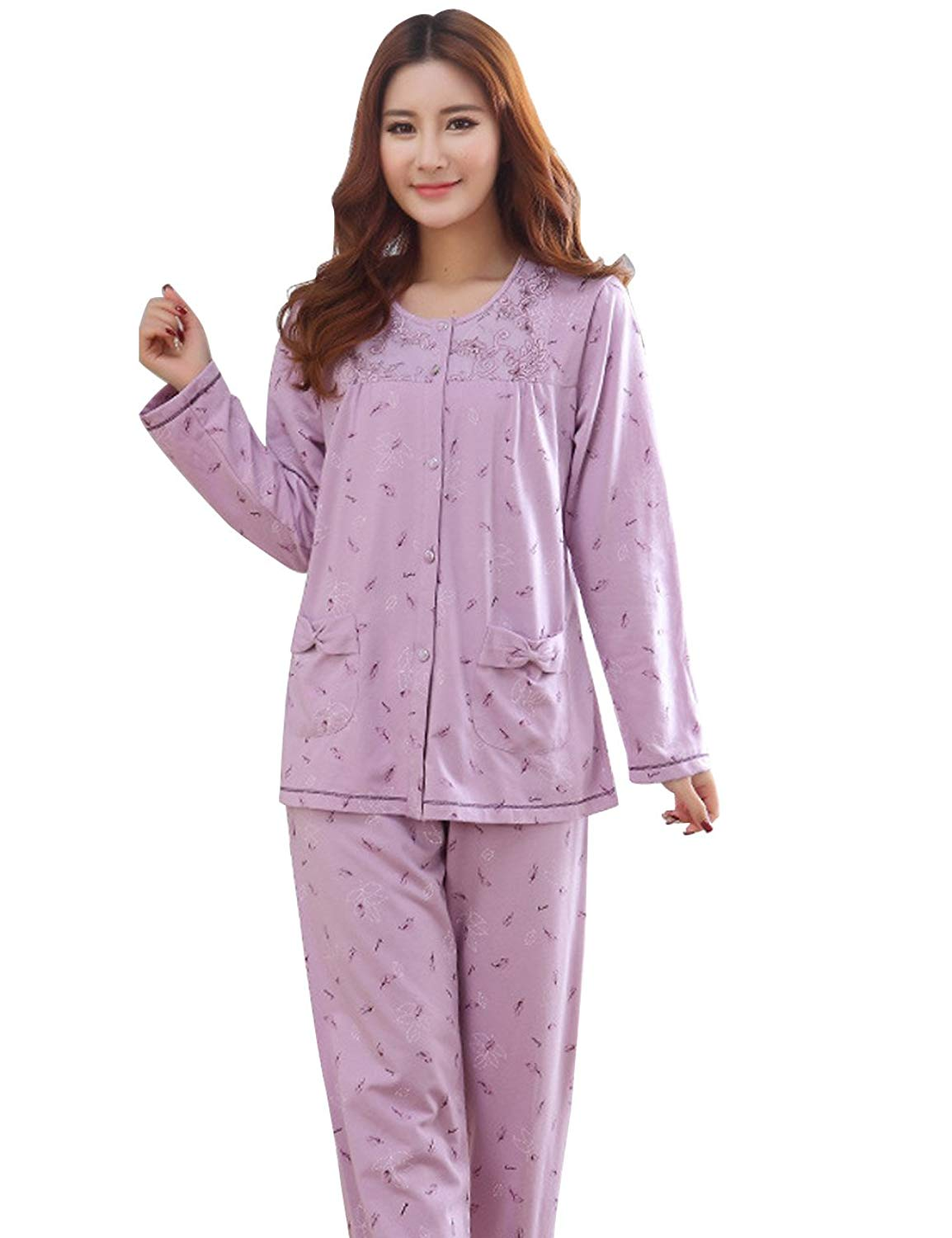 Get Quotations · MOKAYA Women s Pajama Sets Cotton Long Sleeve Comfort  Cotton Fit Top and Pants 115f0158d