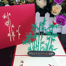 new design fancy handmade bamboo 3d custom pop up greeting cards