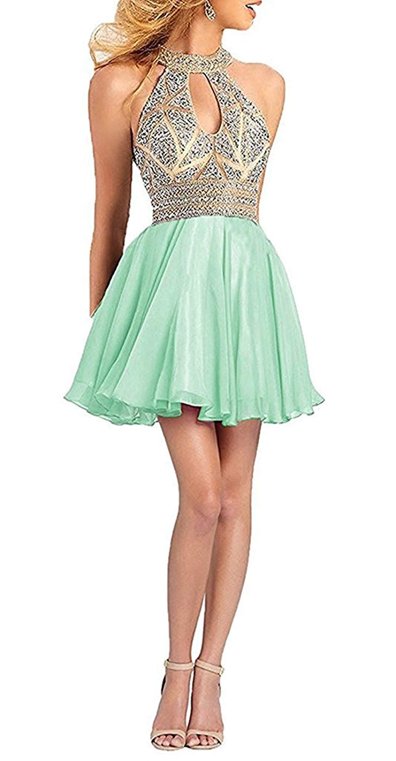 176ec8637fc9 Get Quotations · Ladsen Women's Sweetheart Homecoming Cocktail Dress Puffy  Short Beading Prom Dresses For Juniors L179 Mint Green