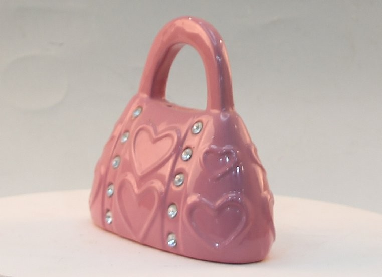 Ceramic Pink Jewel Handbag Money Box