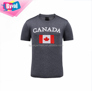 Canada Flag Printed T Shirt Men's O Neck Tee 100% Polyester Dry Fit Tee Shirts Wholesale