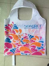 full color polyester folding shopping bag/ reusable strong grocery folding shopping bag