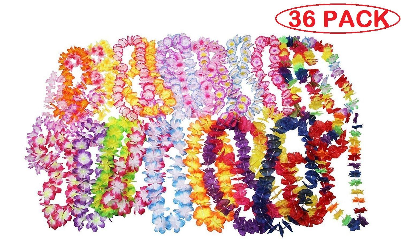 36 Counts Tropical Hawaiian Luau Flower Lei Party Favors (3 Dozen)