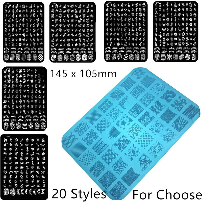 Hight Quality Nail Stamping Plates Fashion Rectangle shape XY Series 3D Type and Metal Material Stamping Nail Art Image Plates