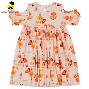 48BQA328-2 Yihong Summer Off Shoulder Plain Floral Hallow Casual Ballerina Dresses For Girl Baby Girl Cotton Dress Baby Frocks