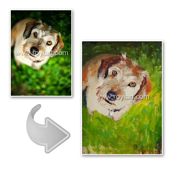 Your pet dog oil painting from photo on canvas