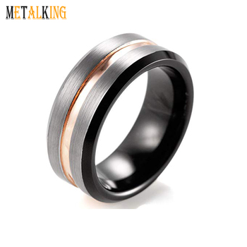 8mm Mens Wedding Band Two Tone Tungsten Carbide Ring Black And Rose