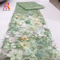 High quality 3d floral bridal applique beaded lace fabric wedding dress tripple lace fabrics