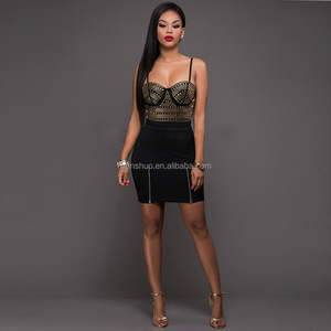 Europe And America Hot Drilling Sexy Package Hip Sling One-Piece Dress