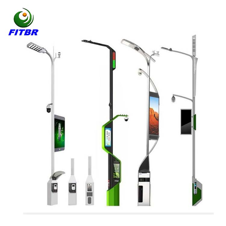 Smart pole with LED screen display smart CCTV wifi transmitter smart street light pole