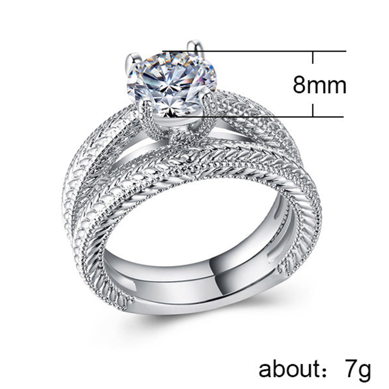 CAOSHI Women Ring Set White Sapphire 925 Silver Plated Engagement Wedding Band Rings Jewelry Set