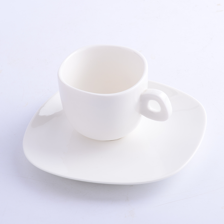 China Manufacturer coffee cup ceramic porcelain white with spoon for restaurant