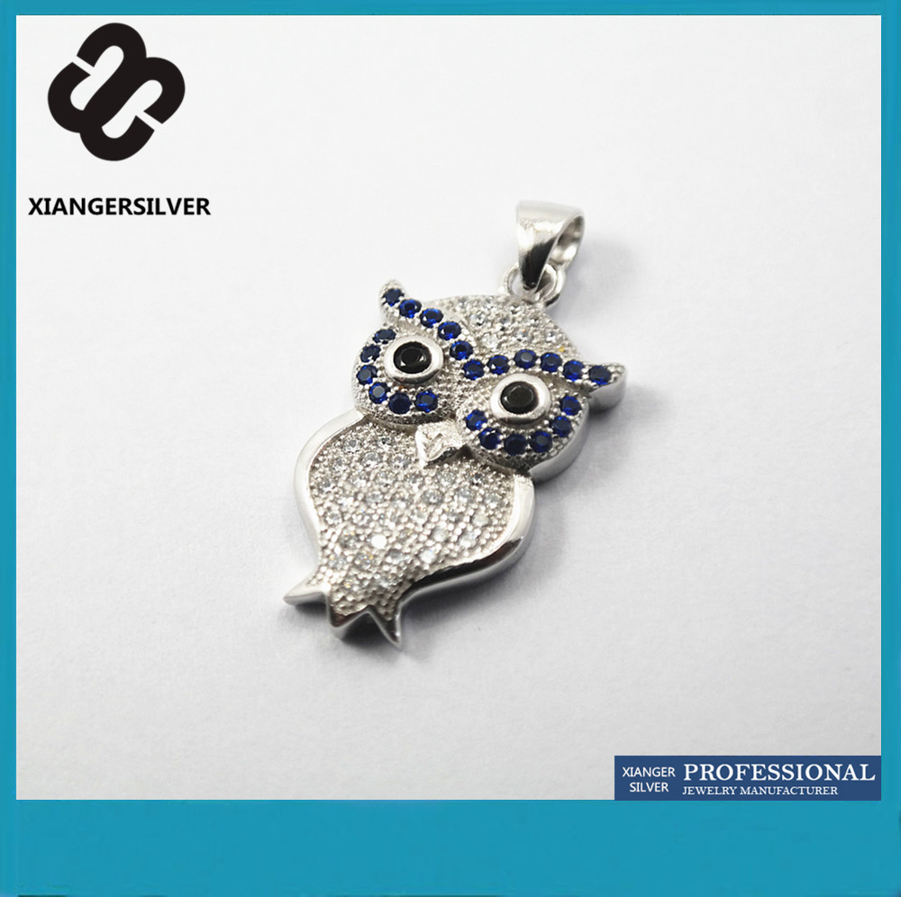 Micro Pave Setting 925 Sterling Silver Delicate and Lovely Owl Shape Charm Women Pendant in China