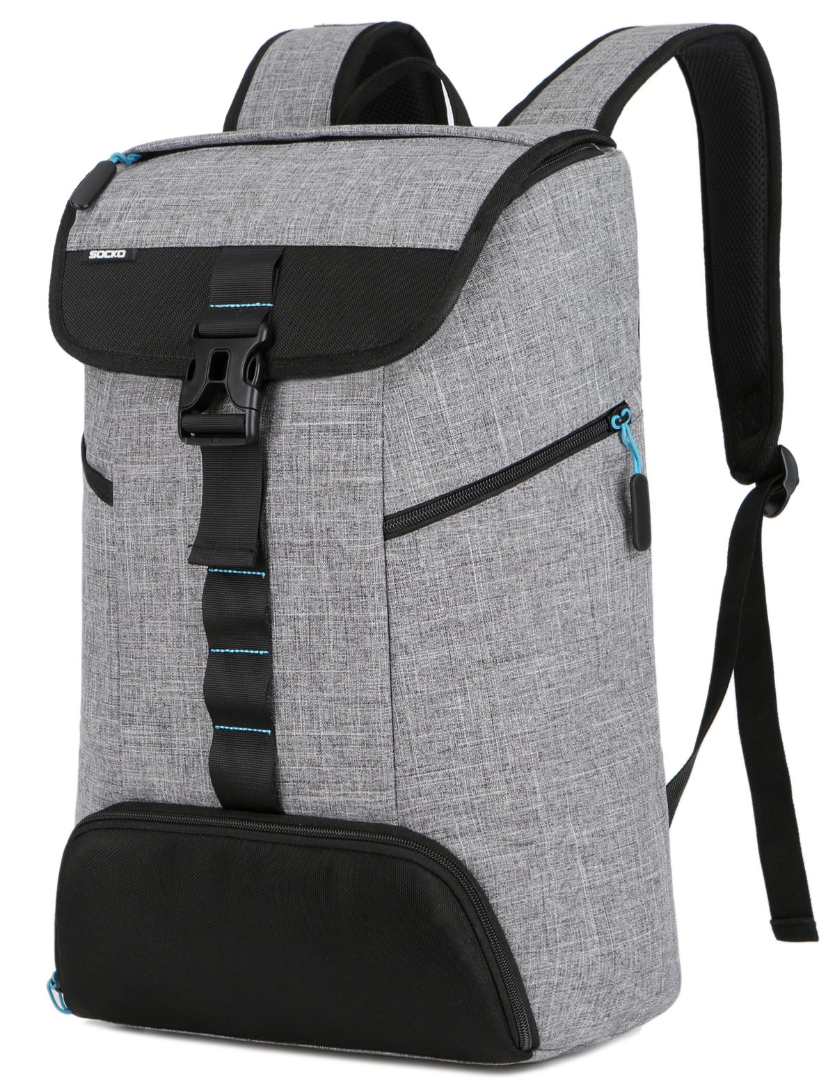 Laptop Backpack 17 Inch for Women/Men,SOCKO Multi-functional Water Resistant Causal Daypack/Sport Gym Bag with Shoes Pocket/College Travel Business Backpack for Laptops Up to 17.3 Inches,Grey