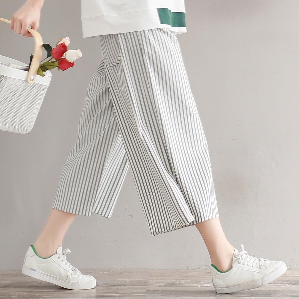 66f056e7ab Mujeres más tamaño negro y blanco rayas Pantalón ancho pantalones elástico  cintura bolsillos estilo europeo verano