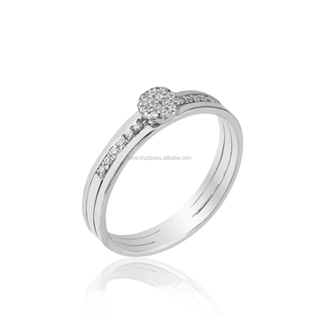micro setting new design gold ring 18k white gold