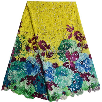 African Multi Flower Pattern Guipure Lace African Net Guipure Lace In Yellow Nigerian Guipure Cord Lace 10732