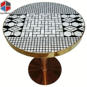 Black White Round Marble Mosaic Coffee Table Top