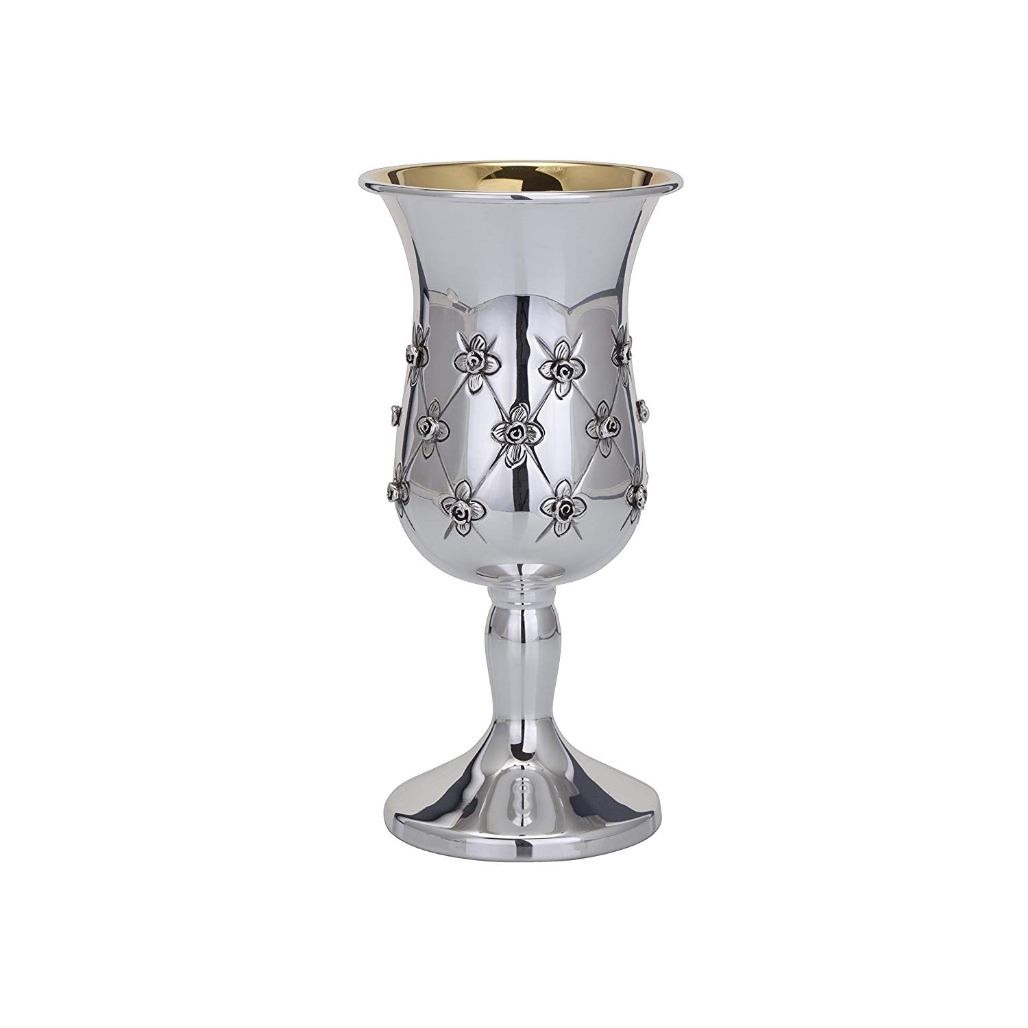 Classic Silverplated Stemmed Kiddush Cup with Gold Star on Foot