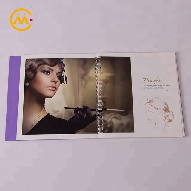 Top quality purple coloring custom paper back spiral journal book printing with coil spine