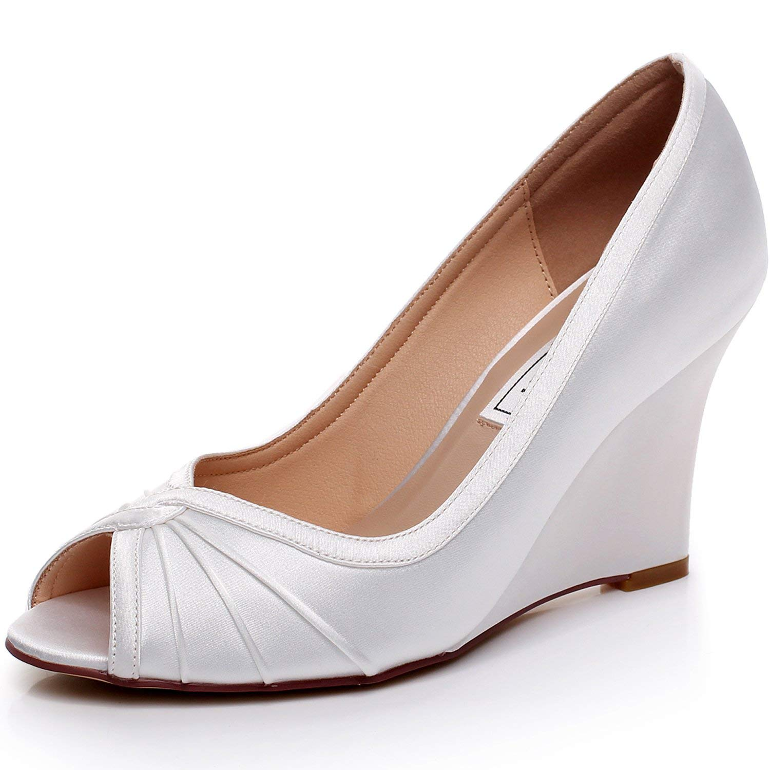 LUXVEER Satin Wedding Shoes Bridal Shoes Women Shoes Wedding Wedges Peep Toe,Medium Heels 3.5 inch
