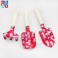 Mini size novelty printed 3 piece kids garden tools set