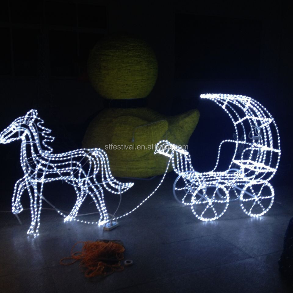 3D LED Christmas Deer Decoration 3D LED Christmas The Horse Drawn Vehicle Decoration Light 1.2m Fancy Motif Light